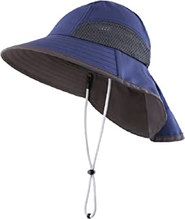 Connectyle Kids Wide Brim Neck Flap Sun Protection Hat Mesh Vent Bucket Sun Hat