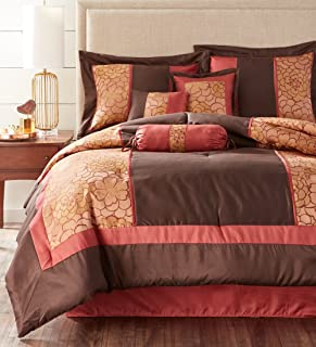 Nanshing SIBYL7-K Sibyl Collection Bedroom Comforter Complete 7 Piece Set, King, Red/Brown