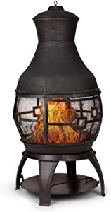 Blumfeldt Titus Garden Fireplace, Patio Fire, 360° FireView with an Antique Appearance, Rustproof, Stainless, Secure Stand with Charcoal Grate, Poker and Mesh Door, Black