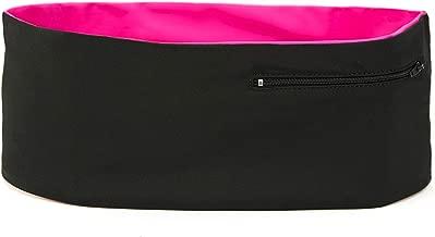 Hips-sister LCR-BLKBLKPNK-A-1-A Travel/Money Left Coast Waistband Running/Walking/Hiking Waistband, Modern Fanny and Waist Pack, Pockets with Zippers, fits All Smartphones; Black Pink A