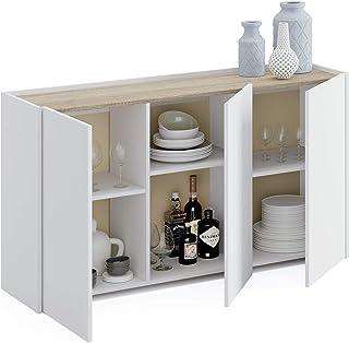 Miroytengo Mueble aparador 3 Puertas Iratxe Blanco y Cambrian Salon Comedor despacho habitacion recibidor 140x80x40 cm