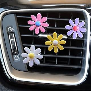 4 PCS Car Charm Beautiful Daisy Flowers Car Air Vent Clips Car Air Freshener Cute Automotive Interior Trim Decorations Acc...