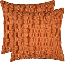 Artcest Set of 2, Decorative Throw Pillow Case, Comfortable Solid Faux Silk Cushion Cover, Pintuck Pleated Fashion and 3D Striped, 18x18 (Orange Yellow)