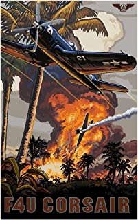F4U Corsair Travel Art Print Poster by Paul A. Lanquist (12