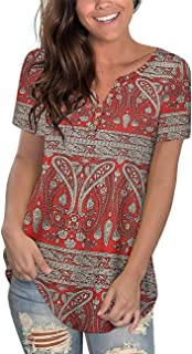 Women's Plus Size Tunic Tops Henley T Shirt Floral Casual...