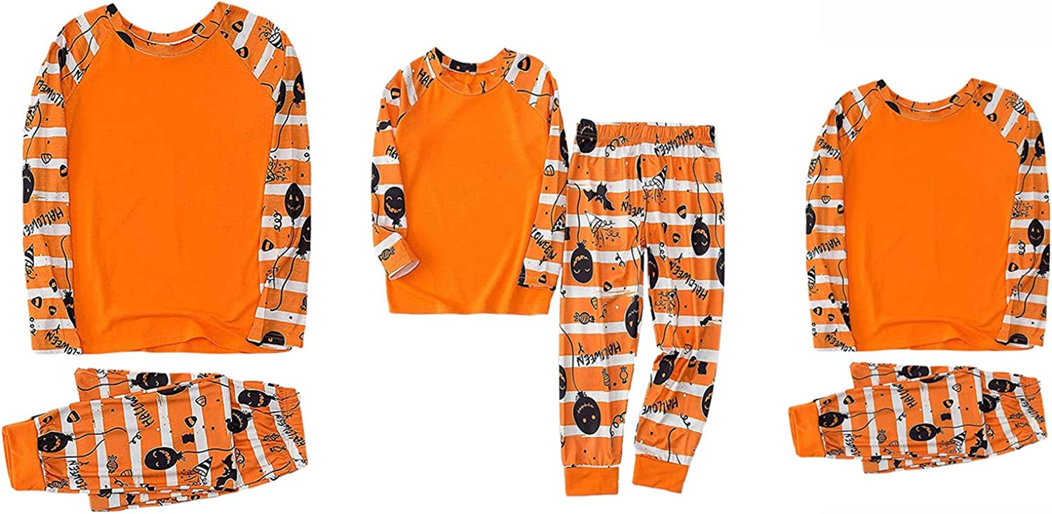 Matching Halloween Pjs for Family Pumpkin Outfits Long Sleeve Tops Pants Set for Family Mom Dad Kids Sleepwear