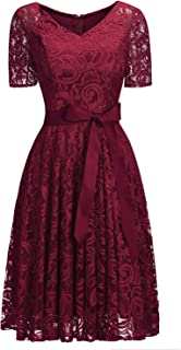 Full Lace V Neck Short Sleeve Cocktail Swing Casual Dress Plus Size