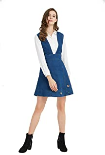Womens Junior Casual Denim A-line Overall Dress with Colorful Eyelets[Dress Only]