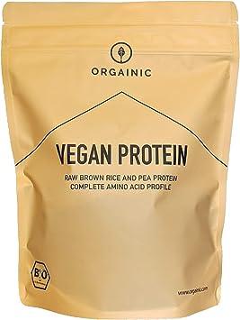 ORGAINIC Proteína Vegana Natural Orgánica - Proteína de Arroz y Guisantes - Orgánica Certificada - 700 g