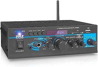 Pyle PTAU23.5 - Mini amplificador de potencia de 2 x 40 W - Mezclador de sonido de doble canal para el hogar, caja receptor estéreo con USB, RCA, auriculares, AUX, entrada de MIC, LED, para PA, entretenimiento en el hogar y uso en estudio