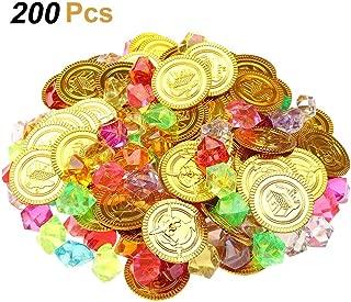 Aumesa Rano 200点セット ゴールドコイン パーティーデコレーション 宝くじの小道具 ゲーム機 100宝石のコイン+100海賊の金のコイン プラスチックのコイン ジュエリープレイセット アクティビティゲームセット 記念パーティー用品 宝物探し