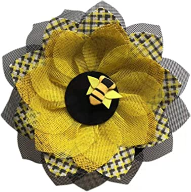 Fxfenoxo Bee Sunflower Wreath Simulation Leaf Garland Handmade Sunflower Artificial Garland Hanging Pendants Wedding, Holiday