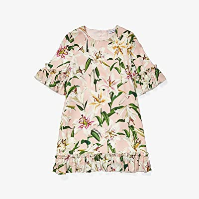 Dolce & Gabbana Kids Lily Print Cady Dress with Ruches (Little Kids) (Gigli Rosa) Girl