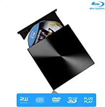 Blu Ray Drive, Portable Drive 3D Player, USB 3.0 and Type-C Disc Burner Reader, Slim BD CD DVD RW ROM Writer Player Compatible with Laptop Desktop Windows 7/8/ 10