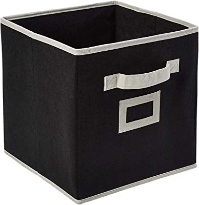 Kuber Industries Non Woven Fabric Foldable Small Size Storage Cube Toy, Books, Shoes Storage Box with Handle, Extra Small (Black)-KUBMART1852