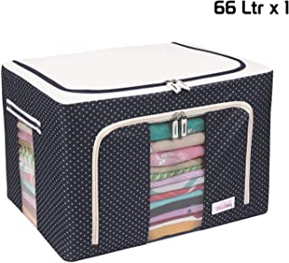 BlushBees® Living Box - Wardrobe Organizer, Storage Boxes for Clothes with Zip - 66 Litre, Pack of 1, Polka Dots Blue