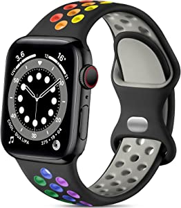 Lerobo Compatible with Apple Watch Band 40mm 38mm, Soft Silicone Sport Bands Breathable Wristband Replacement Strap Compatible for iWatch SE Series 6 5 4 3 2 1 Women Men, Black/Rainbow, S/M