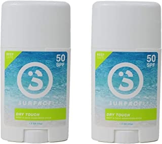 Surface Dry Touch Body Sunscreen Stick - Reef Safe, Broad Spectrum UVA/UVB Protection, Paraben Free, Hypoallergenic, Water Resistant, Fragrance Free - SPF 50, 1.5oz, 2 Count