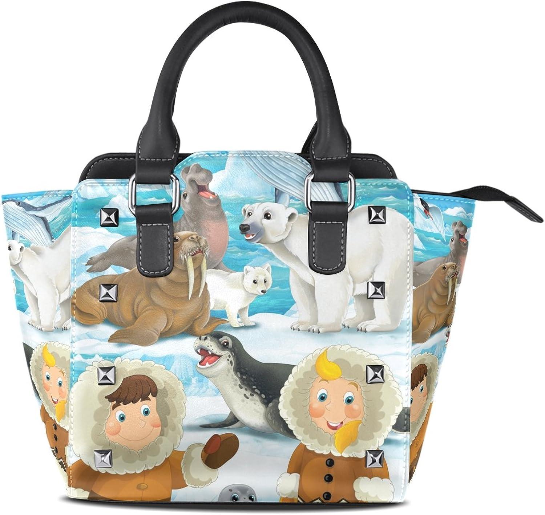 My Little Nest Women's Top Handle Satchel Handbag Cartoon Winter Scene Eskimos Seal Polar Bear Ladies PU Leather Shoulder Bag Crossbody Bag