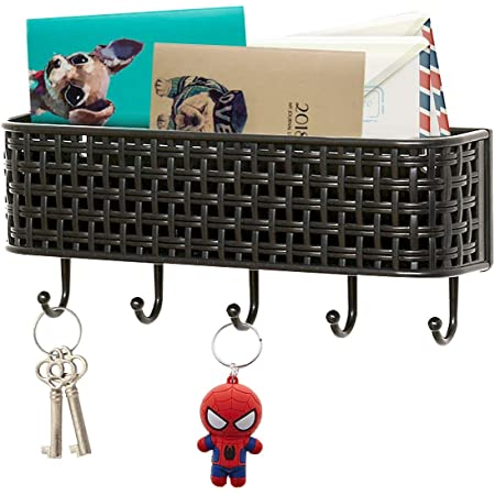 REALWAY Wall Mount Key Holder, Mail Sorter Key Rack, Self-Adhesive Entryway Storage Organizer Mail Basket with 5 Key Hooks, for Home and Office Entryway (Black, 1Pack)