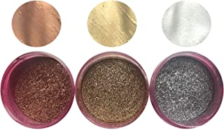 GOLD SILVER COPPER HIGHLIGHTER DUST SET (3 colors) 4 grams each container, silver highlighter, metallic By Oh! Sweet Art