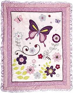 Lambs & Ivy Butterfly Lane Purple/White 5Piece Baby Crib Bedding Set