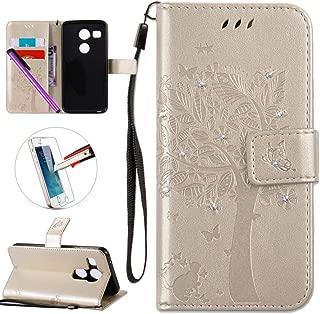 LG Nexus 5X Case, ISADENSER PU Leather Wallet Book Shell Luxury 3D Handmade Shine Diamond Embossing Tree Cat Butterfly Pattern Flip Protective Cover Case For LG Google Nexus 5X- Golden Wish Tree