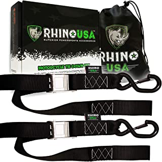 RHINO USA Motorcycle Tie Down Straps (2 Pack) Lab Tested 3,328lb Break Strength, Steel Cambuckle Tiedown Set with Integrated Soft Loops - Better Than a Ratchet Strap