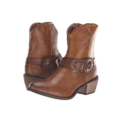 Roper Dev (Burnished Brown Faux Leather/Concho Belt) Cowboy Boots