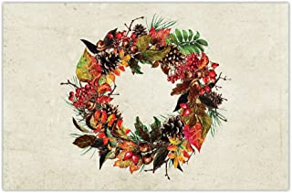 Thanksgiving Dinner Paper Placemats Pack of 25 Classic Autumn Wreath Design Welcome to Fall Season Family Parties Dining Table Settings Disposable Quick Cleanup 17