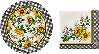 Thanksgiving Fall Harvest Sunflowers Disposable Dessert/Appetizers Paper Plates & Cocktail Beverage Napkin Party Supply Set (Serves 50 Guests)