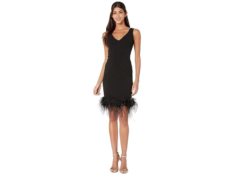 Bebe V-Neck Feather Hem Shift Dress (Black) Women