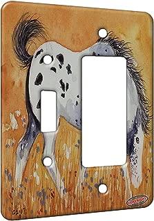 2 Gang Single Toggle/Single Duplex Rocker Wall Plate - Blue Roan Appaloosa Colt with Wildflowers Horse Art by Denise Every