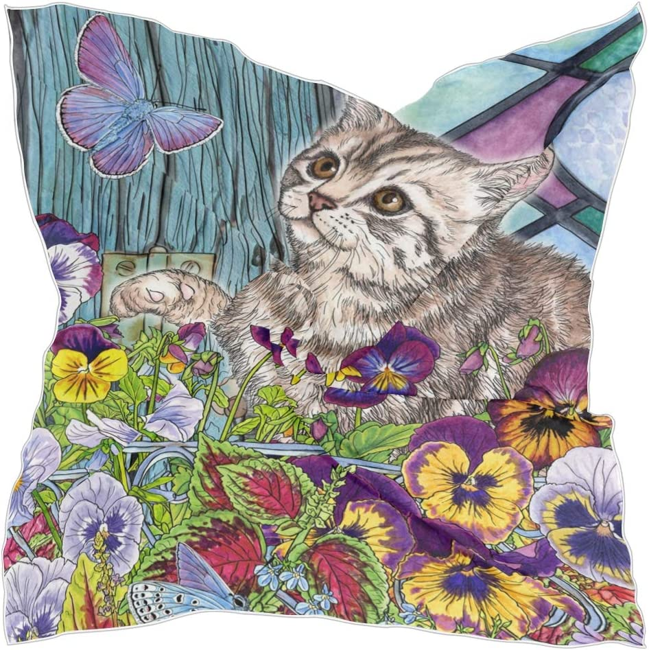 TropicalLife CFAUIRY Square Scarf Cat Butterfly Flower Fashion Satin Neck Scarf 23.6