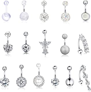 Thunaraz 5-16pcs 14G Stainless Steel Belly Button Rings for Women Crystal CZ Ball Screw Navel Bars