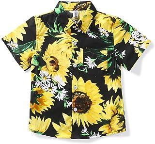 Little Big Boys' Hawaiian Shirt Cotton Button Down Short Sleeve Beach Casual Top