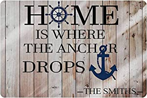 Personalized Home Sign for Front Porch Home is Where The Anchor Drops Farmhouse Wall Decor for Living Room Family Last Name Sign