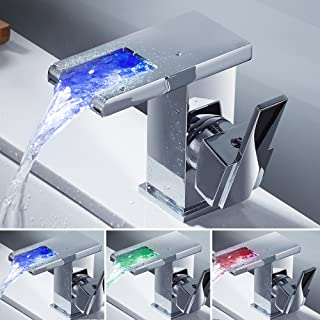 LITTLEGRASS LED Bathroom Sink Faucet Widespread Waterfall  Spout Faucet Water Power Vessel Faucet Without Battery 3 Colors Changing Light Tap Temperature Control Basin Mixer Taps