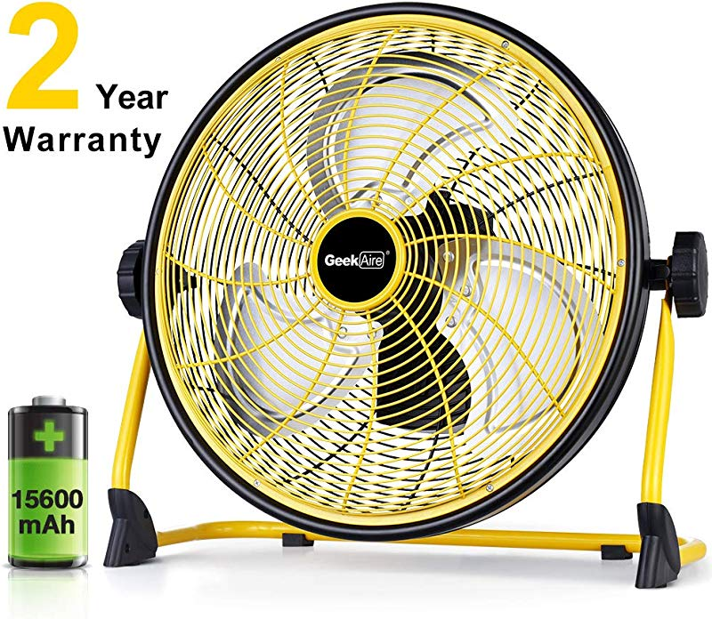 GeekAire Rechargeable Outdoor High Velocity Floor Fan 16 Portable 15600mAh Battery Operated Fan With Metal Blade For Garage Barn Gym Camp 3 24 H Run Time Cordless Industrial Fan USB Output For Phone