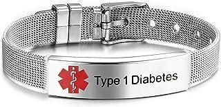 JF.JEWELRY Pre-Engraved Type 1 Diabetes Medical Alert ID Bracelet for Men Women Stainless Steel Mesh Band Adjustable