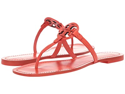 Tory Burch Mini Miller Leather Thong (Poppy Red) Women