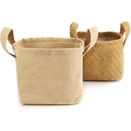 Paniers de rangement en jute de coton - Paquet de 2 | Organisateurs en coton et jute avec poignées de transport | Lin de coton | M&W