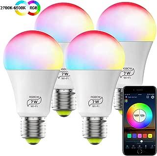Smart WiFi Alexa Light Bulb, Dimmable Multicolor E26 A19 7W (60w Equivalent) Magic Hue LED Light Bulb, Compatible with Alexa Google Home Siri IFTTT (4 Pack)