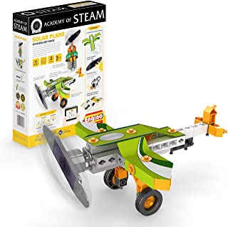Engino - Academy of Steam Toys | Solar Plane: Harnessing Solar Energy - STEM Building Toy & Learning Activities & Experiments | Perfect for Home Learning, Multi (STEAMXF11)