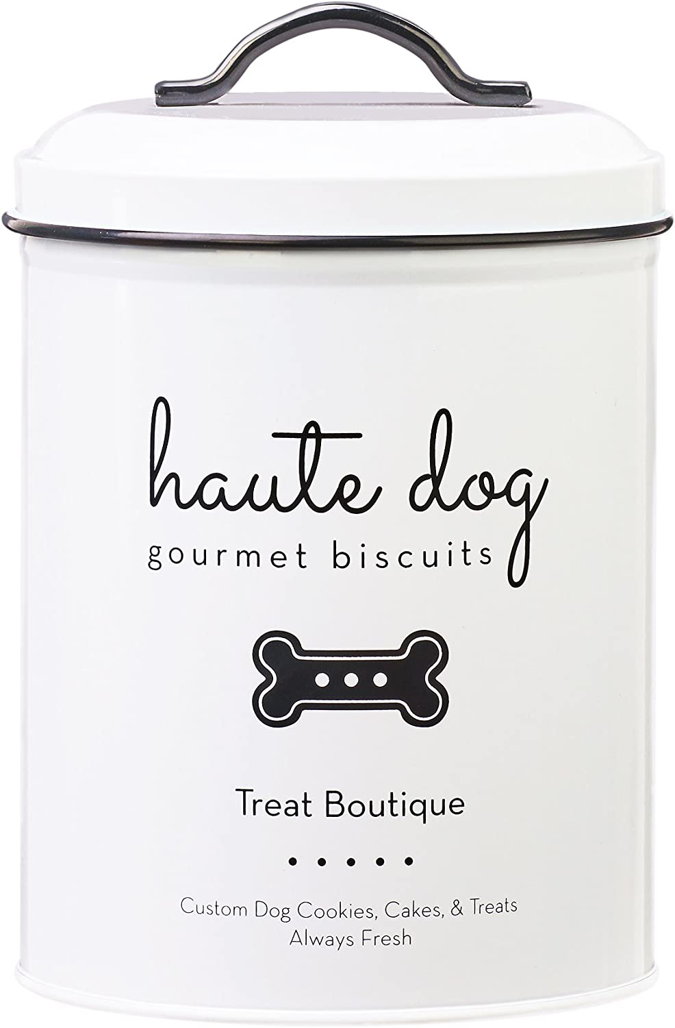 Amici Pet A7CDI013R Haute Dog Gourmet Biscuits Metal Storage Canister, Food Safe, Push Top Lid, 72 Fluid Ounce Capacity
