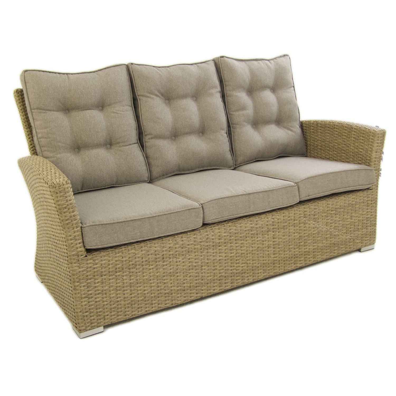 Sofá para jardín, 3 plazas, Color Natural, Aluminio y rattán sintético, Tamaño:80x170x93 cm,Cojines marrón incluidos: Amazon.es: Hogar