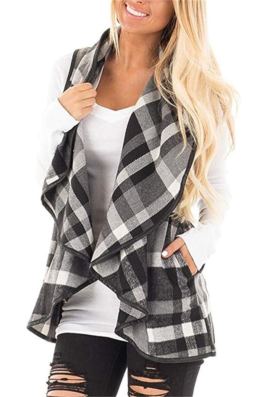 noabat Women's Sleeveless Cardigan Plaid Open Front Vest Outwear with Pockets