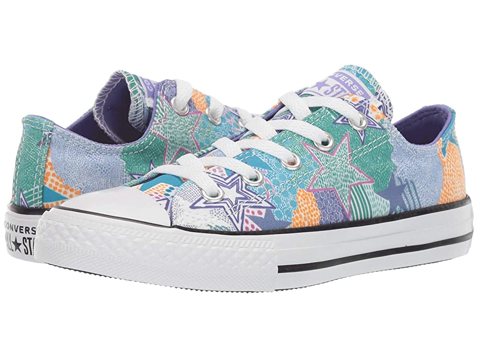 Converse Kids Chuck Taylor All Star Street Mosaic - Ox (Little Kid/Big Kid) (White/Wild Lilac/Black) Girls Shoes, Multi