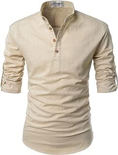 NEARKIN Beloved Men Henley Neck Long Sleeve Daily Look Linen Shirts