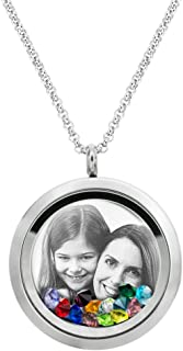 Queenberry Laser Engraved Personalized Photo & Text Message Floating Locket Crystals Necklace Pendant Handmade Love Note Anniversary Wedding Birthday Gift